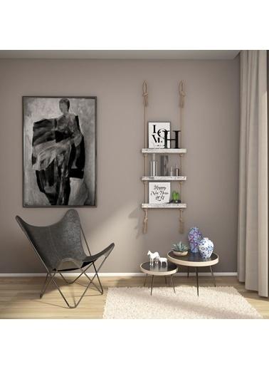 222 Concept Masif Ağaç Eskitme Beyaz Renk 50x9x4 cm Halatlı Raf Beyaz